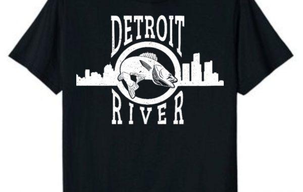 Detroit River Skyline Walleye T-Shirt